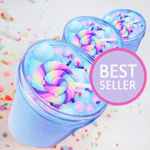 iWeller 2018 Jumbo Blue Unicorn Birthday Candy Cake Fluffy Cloud Slime Scented Therapeutic Putty, Cotton Candy Slime Supplies Stress Relief Toy Scented Sludge Toy for Girls and Boys 4 OZ. (Blue Cake)
