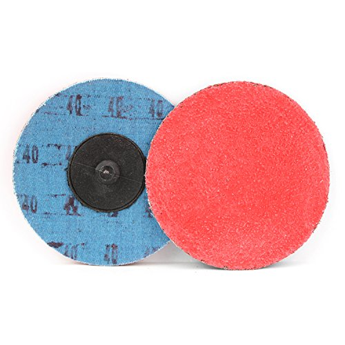 25 Pack - 3'' Premium Ceramic Quick Change Sanding Discs Type R Male - Roll On (40 Grit)…