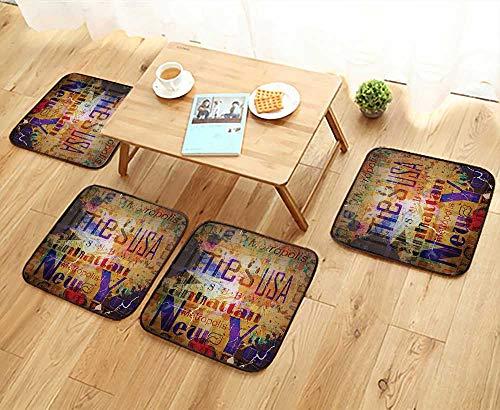 Montage Cover Futon - Elastic Cushions Chairs Grunge Style Complex Artsy Montage of NYC Letters on Magazine Cover Popular Brooklyn for Living Rooms W29.5 x L29.5/4PCS Set