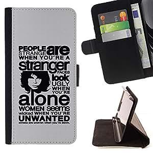 For Huawei Ascend P8 (Not for P8 Lite) Case , People Are Strange Cuando Está- la tarjeta de Crédito Slots PU Funda de cuero Monedero caso cubierta de piel