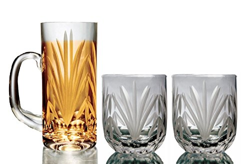 Frosted Old Fashion Set (Set of 4 Doubled Old Fashion Stemless Crystal Wine Glasses and Cocktail Drinking Glasses)