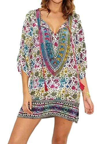 Drawstring V Loose Dress Casual Domple Print Shirt Women 5 T Ethnic Neck wqTExH6p