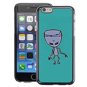 A-type Arte & diseño plástico duro Fundas Cover Cubre Hard Case Cover para iPhone 6 (Alien Green Ufo Mutant Zombie)