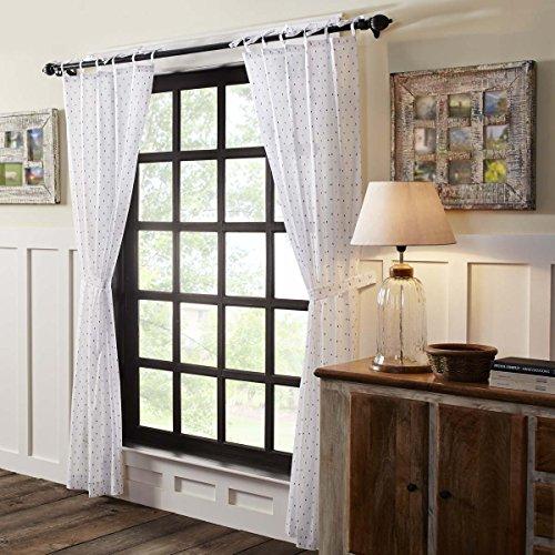 VHC Brands Farmhouse Window Malyn White Tie Top Curtain Pane