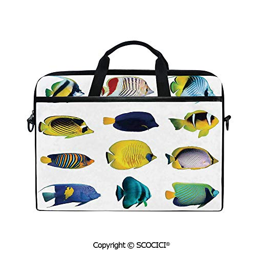 Portable Ultrabook Soft Sleeve Laptop Bag Case Cover Tropical Fish Figures with Anemonefish Dive Nemo Aqua Home Decor Compatible with HP Dell Lenovo