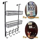 REBASSA Over the Door Hook Hanger Three Tiers with 10 Hooks and 2 Mesh Basket Adjustable Storage Rack Wall Hook for Coats Hats Robes Towels