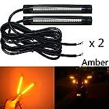 NBWDY 2x 10cm 24led pvc strip Universal Motorcycle Bike LED Turn brake Signal Indicator Blinker Light 12v (Amber)