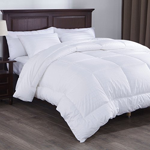 PUREDOWN Down Alternative Comforter, Duvet Insert, Gusset Siding, 300 TC, 100% Cotton Squared Jacquard Fabric, White, Full/Queen (Polyester Duvet Insert)