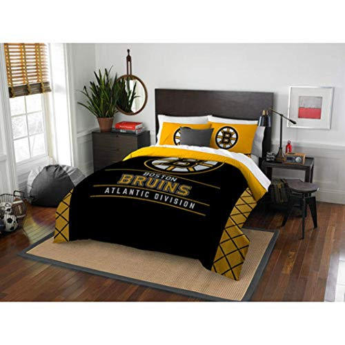MI Hockey League Bruins Bedding 3 Piece Comforter Full Queen Set, Sports Patterned Team Logo Fan Merchandise Athletic Team Spirit, Yellow Gold Black, Polyester Unisex