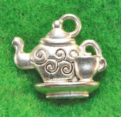10 PC Tibetan Silver TEAPOT &amp, CUP Charms - from Jewelry Making Supply Charms Wholesale by Wholesale Charms Pendants Jewelry Finding