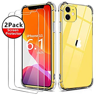 BELONGME Compatible with iPhone 11 Case 2019,Tempered Glass Screen Protector [2Pack] with Shockproof Crystal Clear Case for iPhone 11 6.1 inch.