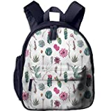 Haixia Teen's Boy's&Girl's Bookbag with Pocket Cactus Decor Vintage Botanical Pattern Arrows Feathers Succulent Twigs Hawaii Spring Tropic Decorative