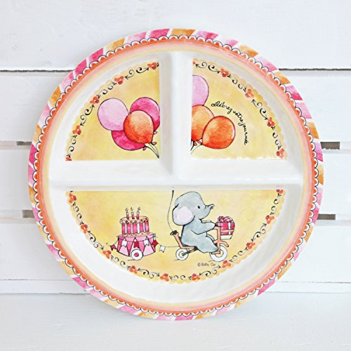 Baby Cie Celebrer Votre Journee 'Celebrate Your Day' Round Textured Sectioned Plate, Multicolor