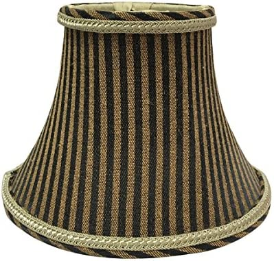 6 Pack Royal Designs 6 Brown Antique Gold Striped Chandelier Lamp Shade, 3 x 6 x 4.5 CS-609AGL BR-6