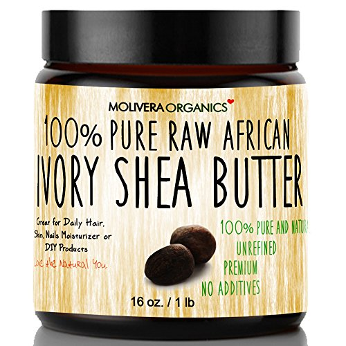 Shea Butter Jar (Molivera Organics Raw African Organic Grade A Ivory Shea Butter for Natural Skin Care, Hair Care - 16 oz.)