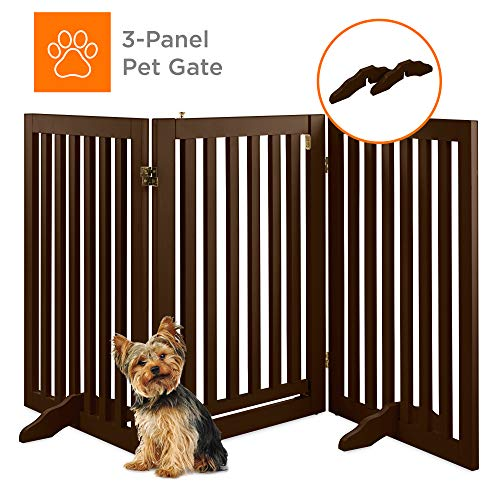 Best Choice Products 31.5in 3-Panel Freestanding Wooden Pet Gate w Walk Through Door, Adjustable Pen – Espresso