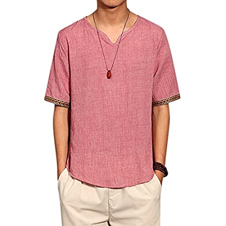 c2a58e7afe5 Alamor Retro Chinese Style T-shirt Summer Men s Linen Solid Color V-neck  Short Sleeve Tops Tees-Red-M  Amazon.co.uk  Kitchen   Home