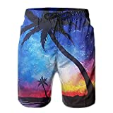 ZAPAGE Galaxy Coconut Paintings Boys Quick Dry Boardshorts Printed Home Shorts With Pocket