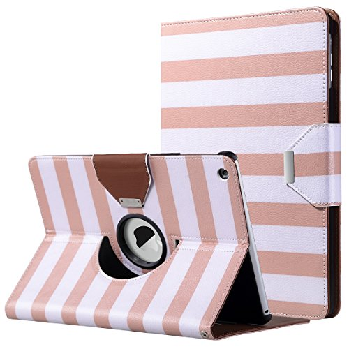 ULAK iPad Air Case, Multi-Angle Rotating Stand Protective Case Cover for Apple iPad Air (2013 Release) with Automatic Wake/Sleep Function (Rose Gold/White Stripes)