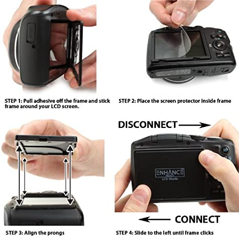 non-brand 3 LCD Hood with Pop-Up Sun Shade and Screen Protector Viewfinder Protection Cover Cap for DSLR Camcorders