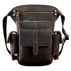 Genuine Leather Bag,Bike Cycling Bag,Waist Hip Bum Fanny Backpack,Drop Leg Bag,Crossbody for Men Women