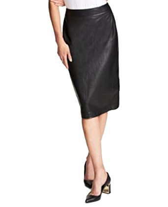f740d89c09 DKNY Faux-Leather Pencil Skirt (Black, 14) at Amazon Women's Clothing store: