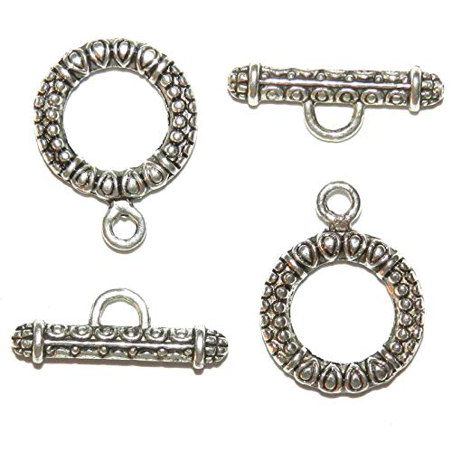Antiqued Silver 17mm Dot Textured Round Toggle Clasp with 22mm Bar 25pc #ID-7596