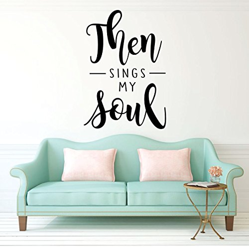 Christian Hymn Wall Decal - Then Sings My Soul - Inspirational Religious Vinyl Sticker - How Great Thou Art Music Lyrics for Home Decor or Church (Song Lyrics Great Thou Art)