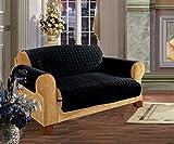 Elegance Linen Quilted Pet Dog Children Kids Furniture Protector Microfiber Slip Cover Love Seat, Black by Elegance Linen