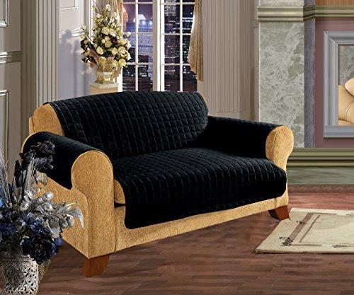 Elegance Linen Quilted Pet Dog Children Kids Furniture Protector Microfiber Slip Cover Sofa, Black Black Sofa1