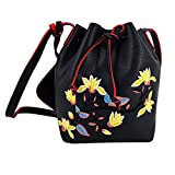Felice Crossbody Bags for Women Retro Embroidery Floral Messenger Bag Mini Bucket Shoulder Bags (black with embroidery)