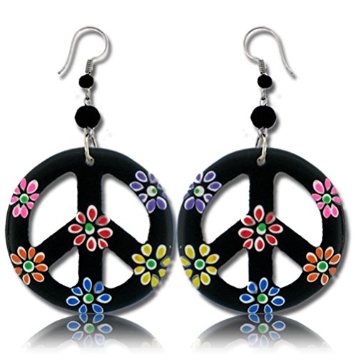 Earth Accessories Peace Sign Dangle Earrings with Organic Wood]()