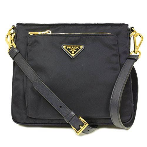 Prada BT0693 Bleu Navy Tessuto Saffian Nylon and Leather Crossbody Messenger Bag (Prada Messenger Tessuto)