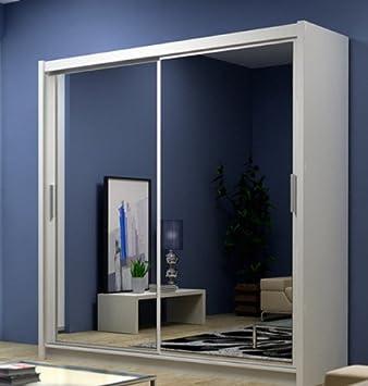 White Mirror sliding wardrobe free standing shelving and hanging