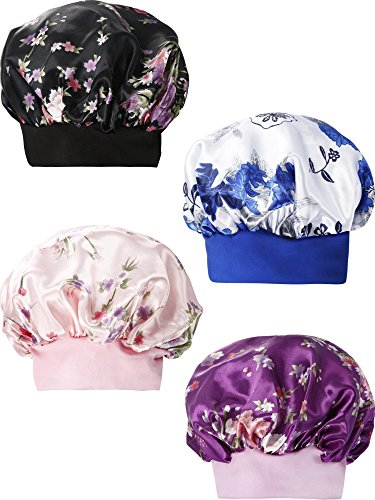 SATINIOR 4 Pieces Wide Band Soft Satin Bonnet Cap Night Sleep Hat Hair Loss Cap by SATINIOR