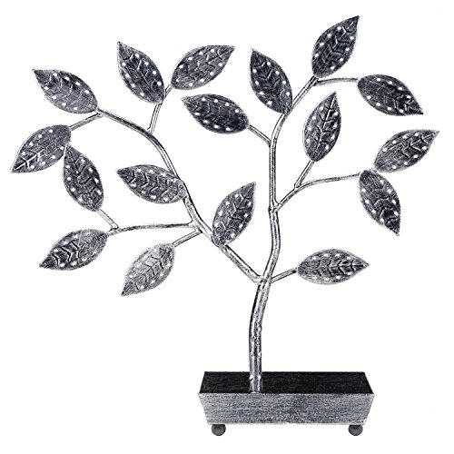 MyGift Tree Design Jewelry Hanger, Earring Necklace Holder with Ring Dish Tray, Silver by MyGift (Image #2)