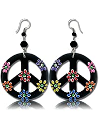 Stainless Steel Organic Wood Dangle Peace Sign Earrings