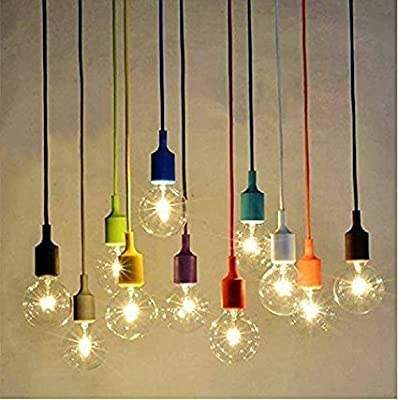 Pendant Lights Aoohe Modern Fashion Silicon Gel Pendant Lamp Socket Pendant Light Silicone Mutto for Bar Show Case Cafe Aisle Porch No bulb set of 8 (Pendant Lights)
