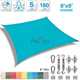 Patio Paradise 8' x 8' Sun Shade Sail with 6 inch Hardware Kit, Turquoise Green Square Patio Canopy Durable Shade Fabric Outdoor UV Shelter Cover - 3 Year Warranty - Custom Size Available