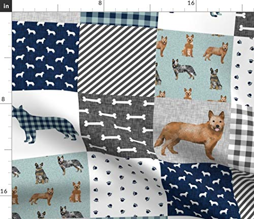 Cheater Quilt Fabric - Australian Cattle Dog Pet B Wholecloth Dogs Pets Baby Blanket Portrait Gift Print on Fabric by the Yard - Petal Signature Cotton for Sewing Quilting Apparel -