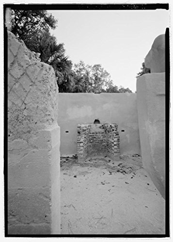 Vintography 8 x 12 Photo Slave Quarters E15, Interior View Looking South Toward Fireplace - Kingsley Plantation, 11676 Palmetto Avenue, Jacksonville, Duval County, FL 1855 85a by Vintography
