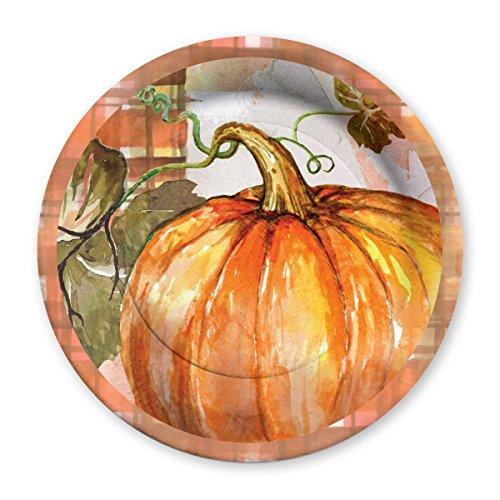 (C.R. Gibson Autumn Pumpkin Harvest Decorative Disposable Autumn Paper Plates, 8 ct. 10.5'' D)