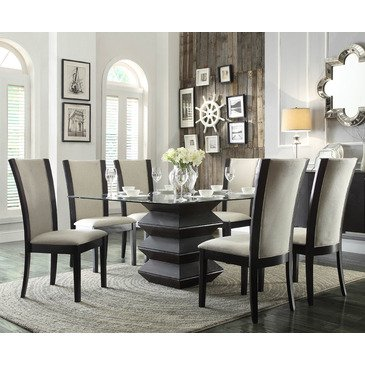 Homelegance Havre 7 Piece Glass Top Dining Room Set W/