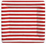 4th of July Party Ideas Party Supplies Paper Plates Dinner Size Red and White 16 Count 10 inch Square