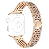 RuenTech Replacement For Apple Watch Band 38mm 42mm, Metal Bracelet Bling Bling Crystal style watch band strap for iWatch Series 3, Series 2, Series 1, Sport and Edition Men/Women (Rose Gold, 38MM)