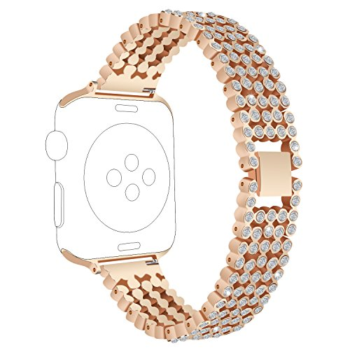 Replacement For Apple Watch Band 38mm 42mm,RuenTech Metal Bracelet Bling Bling Crystal style watch band strap for iWatch Series 3, Series 2, Series 1, Sport and Edition Men/Women (Rose Gold, 38MM) (Watch Bling Style)
