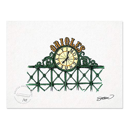 Oriole Park at Camden Yards - Baltimore Orioles - Limited Edition Minimalist Art Sketch Print (8.5X11 Inches) - Camden Yards Orioles Baltimore