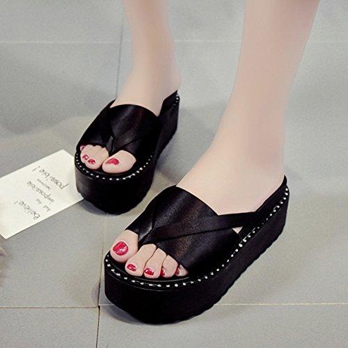 LIXIONG Hembra colores 2 Con Ropa 5cm verano Negro moda Color CN39 245 Negro zapatillas altura exterior grueso Tamaño Moda estudiante EU39 Zapatos de zapato Fondo UK6 6rv56Oq