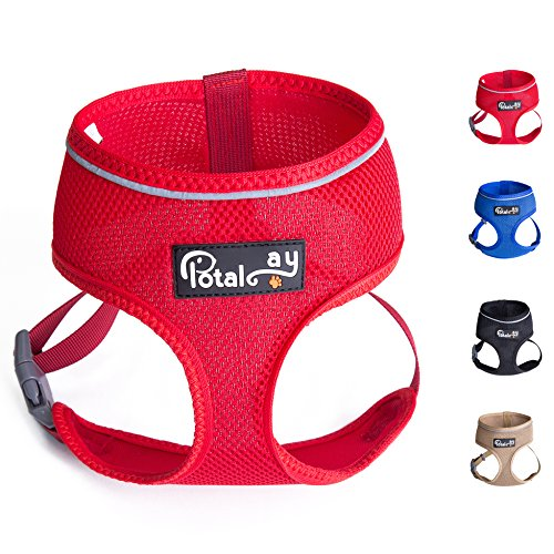 Harness Pet Control Comfort (Potalay Maximum Comfort & Control Dog Harness 4-48 lbs; No Pull & No Choke Design, Luxurious Padded Vest, Eco-Friendly, For Puppies and Dogs Red XXL)