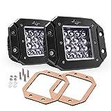 MICTUNING 5' Quad-Row LED Cubes, Flush Mount Pods Offroad Driving Lights - 3780LM Spot Light Bar (2 Pack)